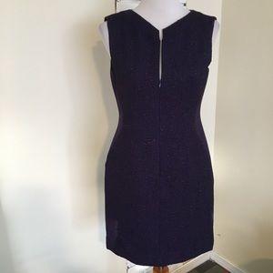 Tahari Front Zip Textured Purple Dress 8